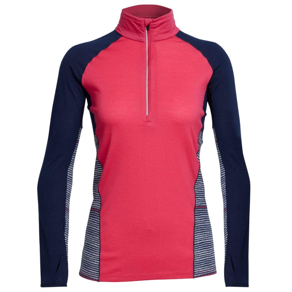 ICEBREAKER Women's Comet Long-Sleeve 1/2 Zip, Impulse - POPPINK/ADMRL/SNOW
