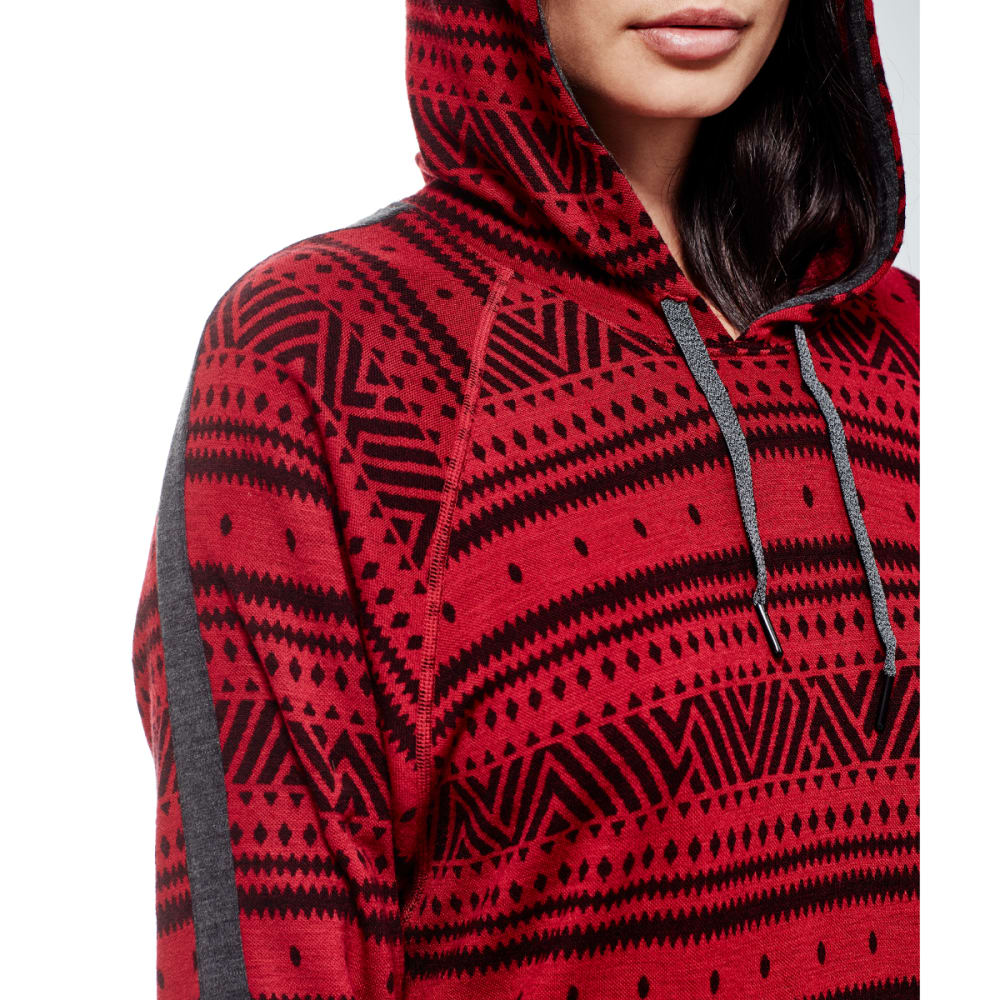 ICEBREAKER Women's Meadow Long-Sleeve Hood Icon, Fairisle - OXBLD/JET H/OXBLD