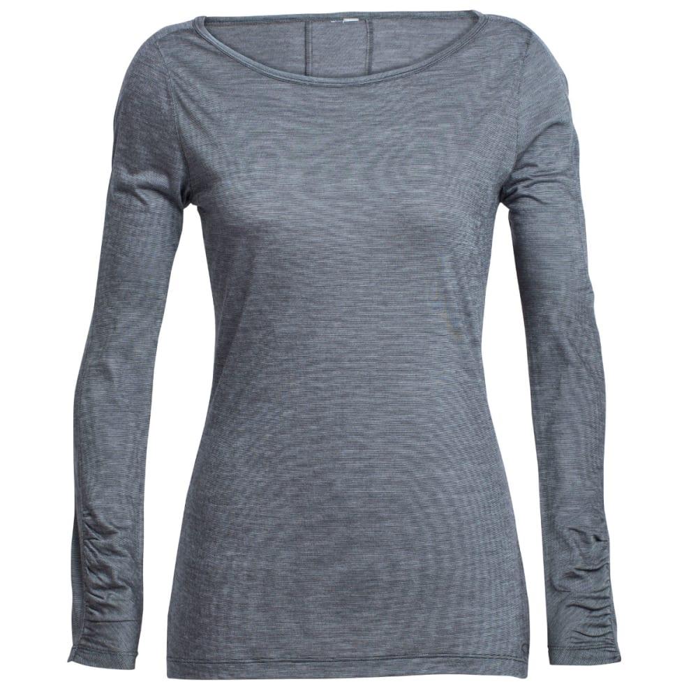 ICEBREAKER Women's Nomi Long-Sleeve Shirt - BLACK/SNOW/STRIPE