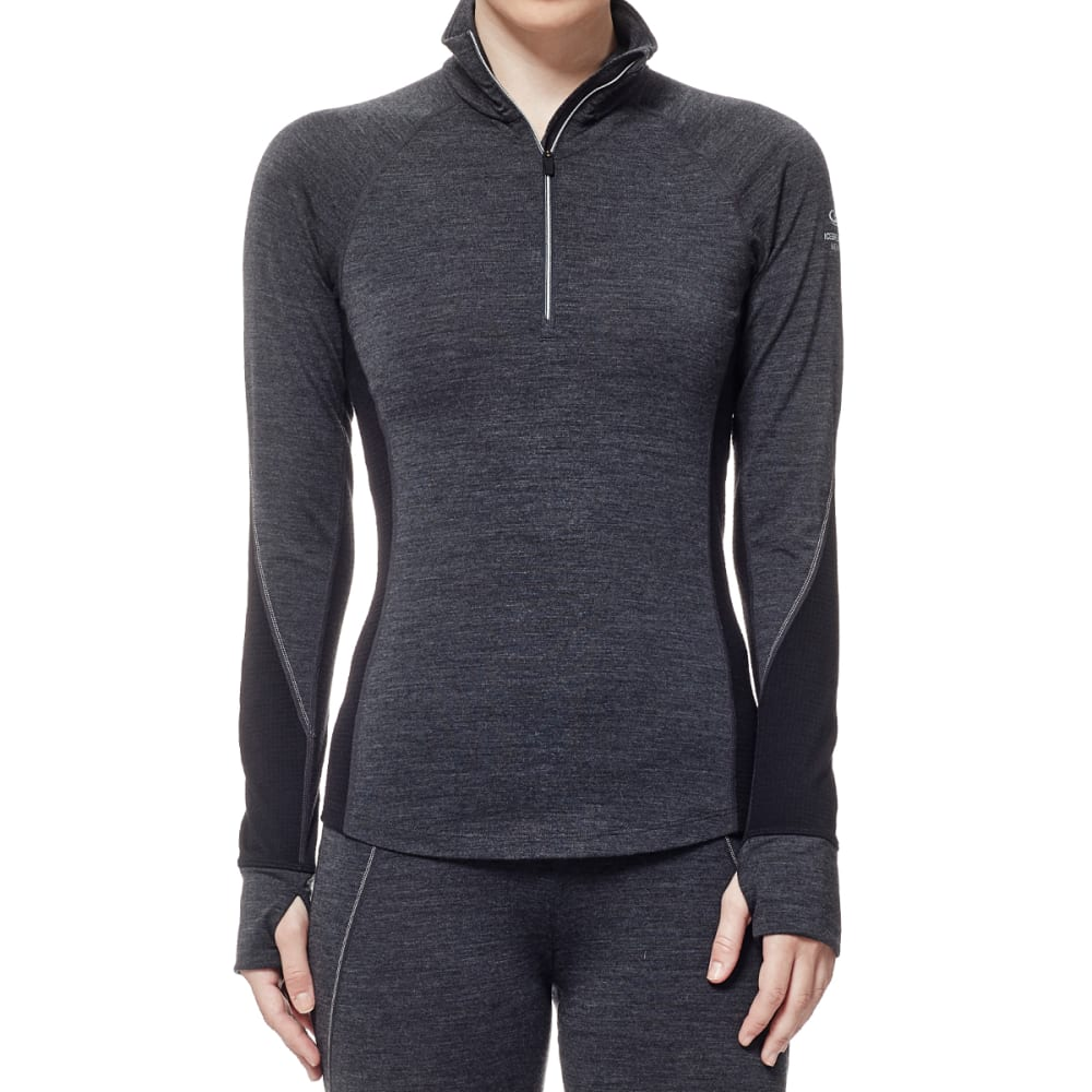 ICEBREAKER Women's Winter Zone Long-Sleeve 1/2 Zip - JET HTHR/BLACK/SNOW