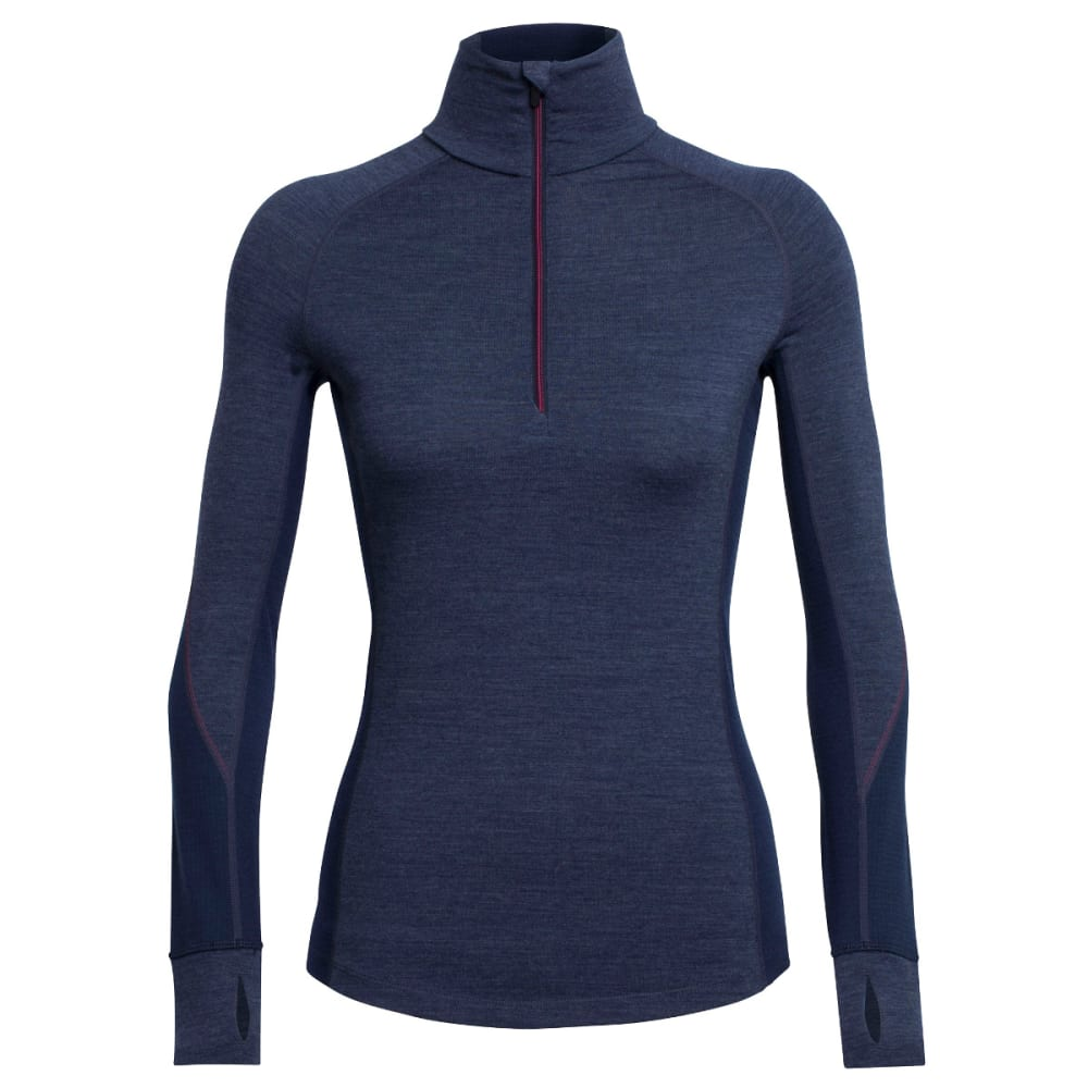 ICEBREAKER Women's Winter Zone Long-Sleeve 1/2 Zip - FATHOM HTHR/ADML/PNK