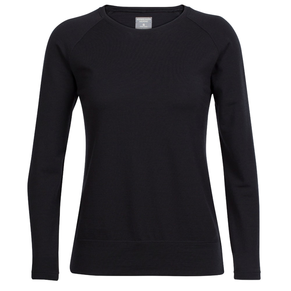 ICEBREAKER Women's Zoya Long-Sleeve Crewe - BLACK/BLACK