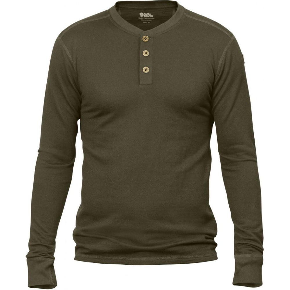 FJALLRAVEN Men's Lappland Merino Long-Sleeve Shirt - DARK OLIVE