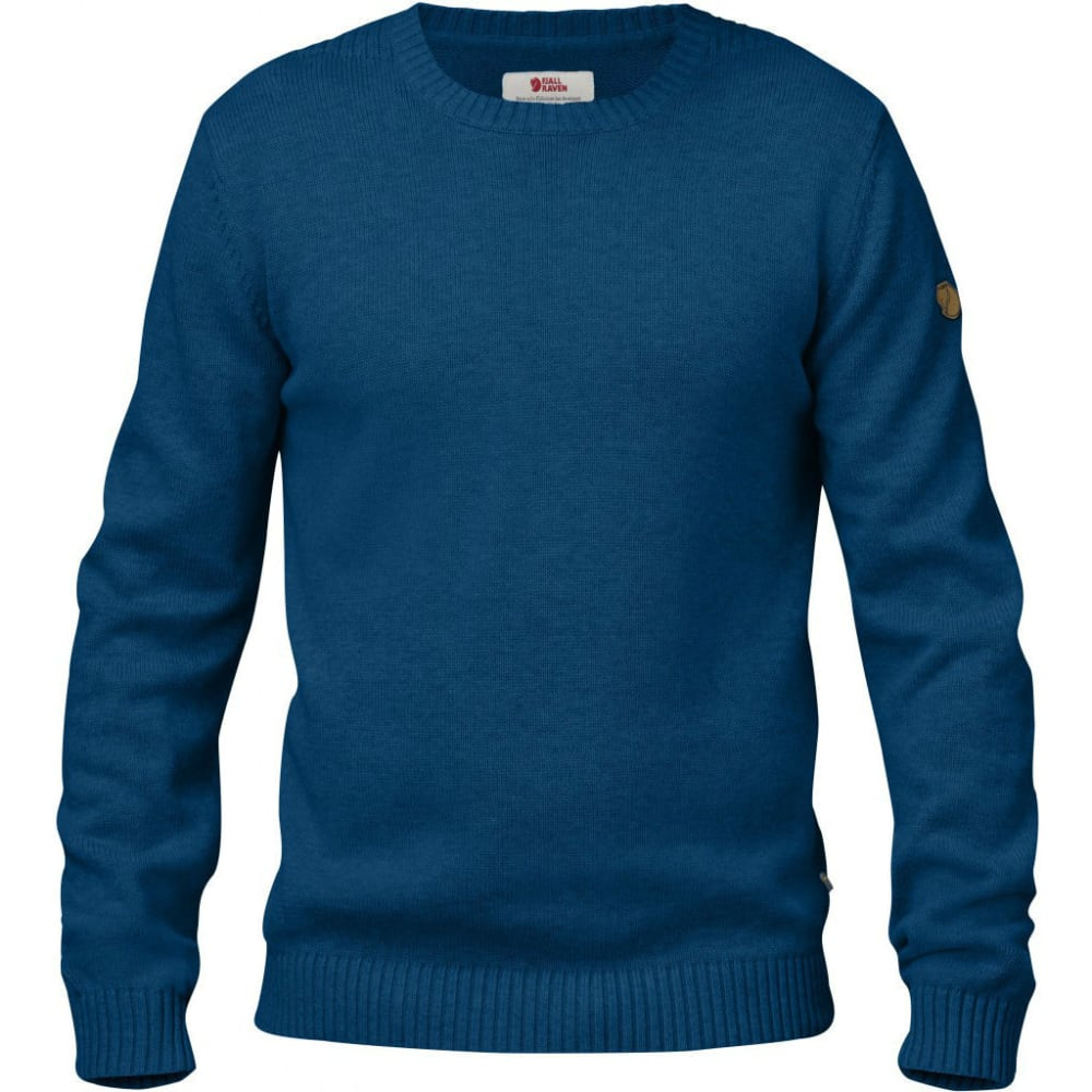 FJÄLLRÄVEN Men's Ovik Knit Crew - LAKE BLUE