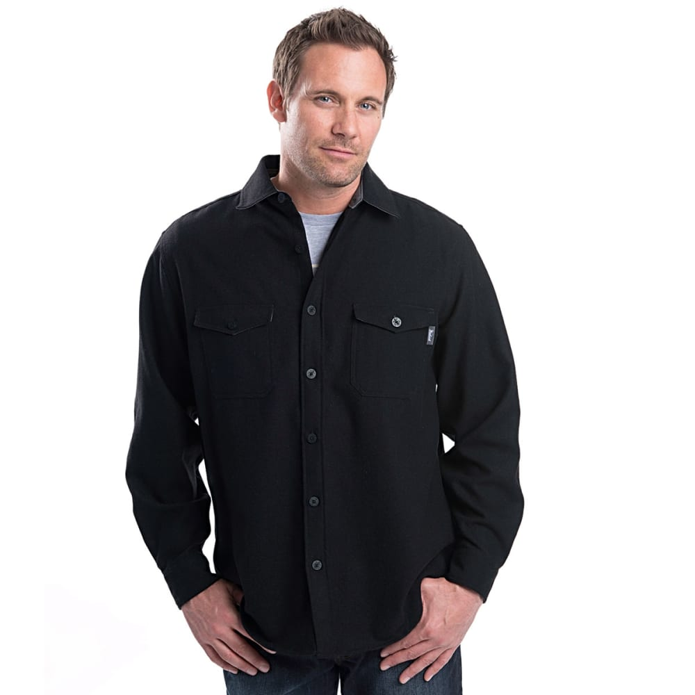 WOOLRICH Men's Bering Wool Shirt - SOLID BLACK