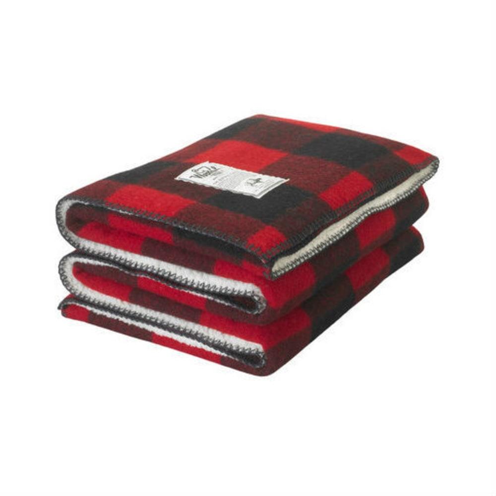 WOOLRICH Sherpa Rough Rider Wool Blanket - RED