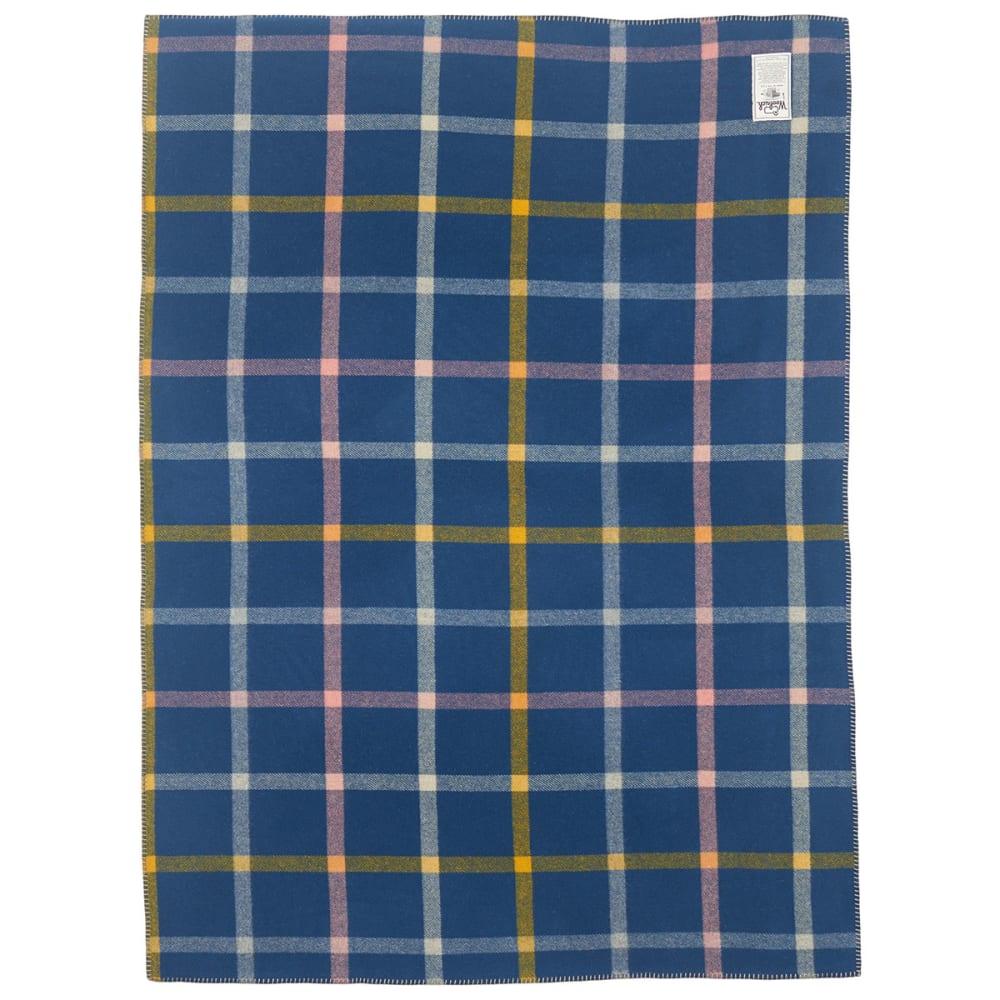 WOOLRICH Sherpa Mountain View Wool Blanket - BLUE