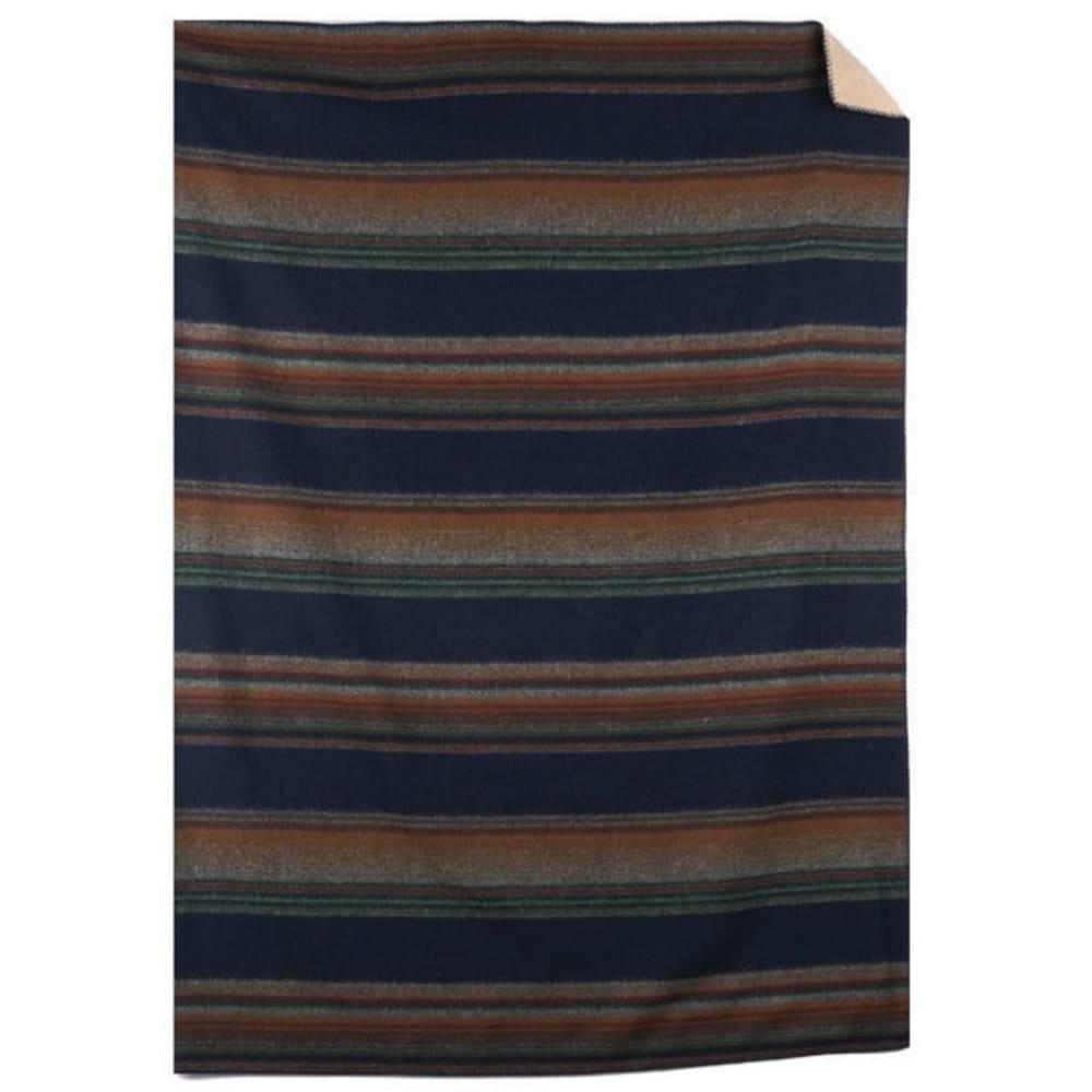 WOOLRICH Sherpa Overlook Pass Wool Blanket - DEEP INDIGO