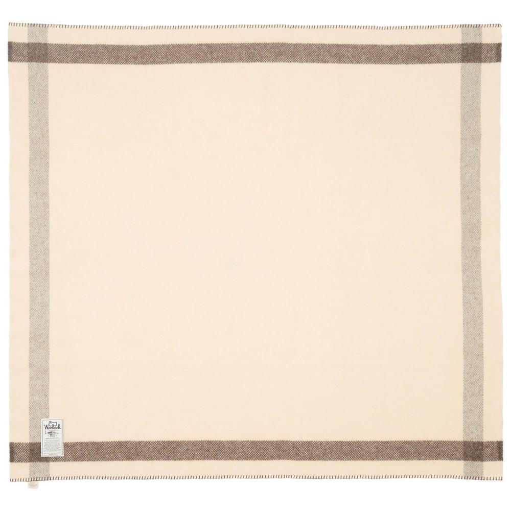 WOOLRICH Suffolk Stripe Blanket - NATURAL/BROWN STRP