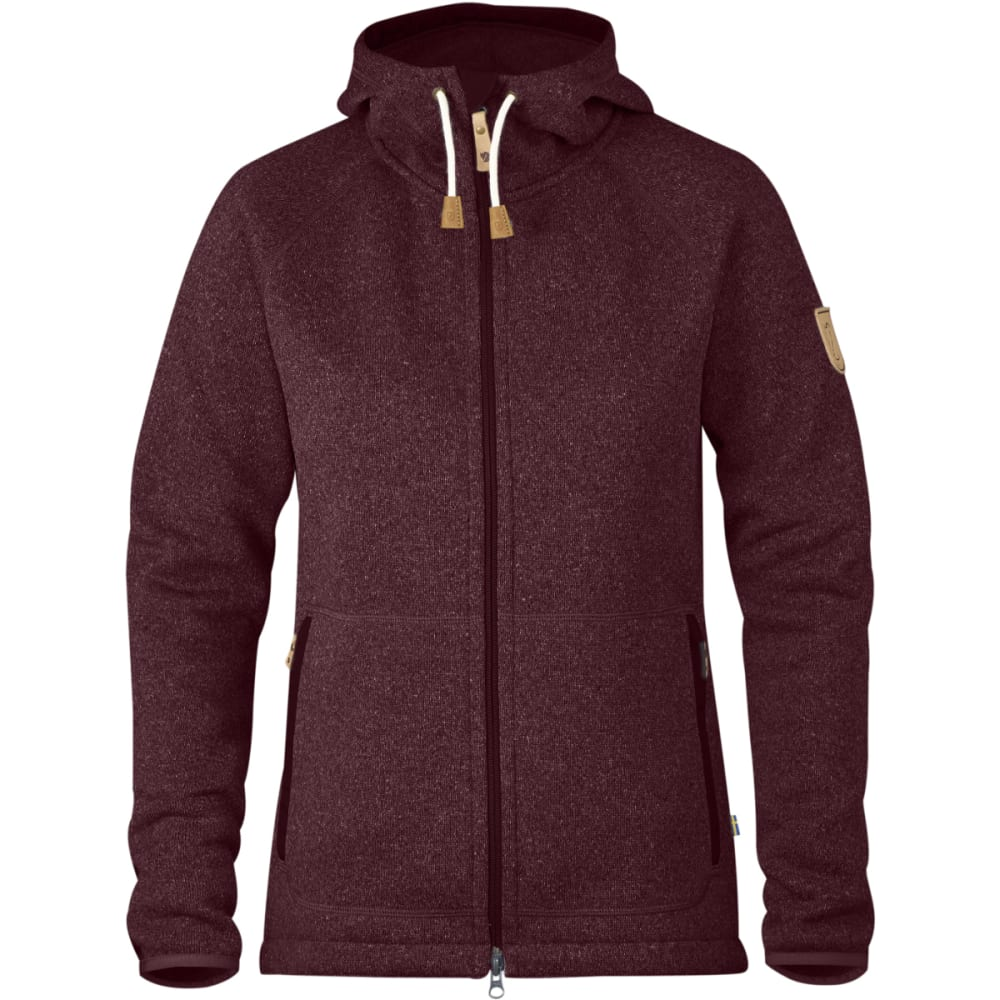 FJALLRAVEN Women's Ovik Fleece Hoodie - DARK GARNET