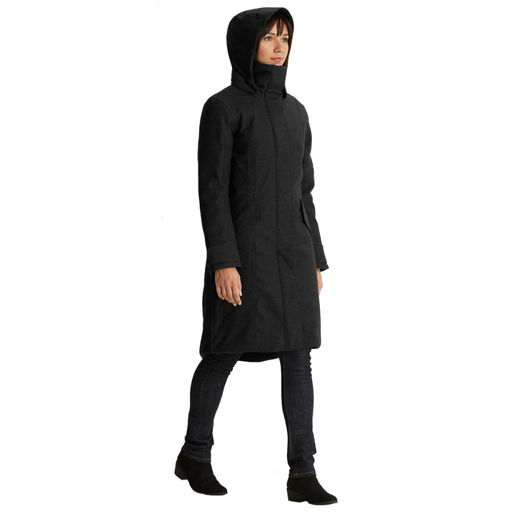 NAU Women'sPrato Wool Down Trench - CAVIAR HEATHER
