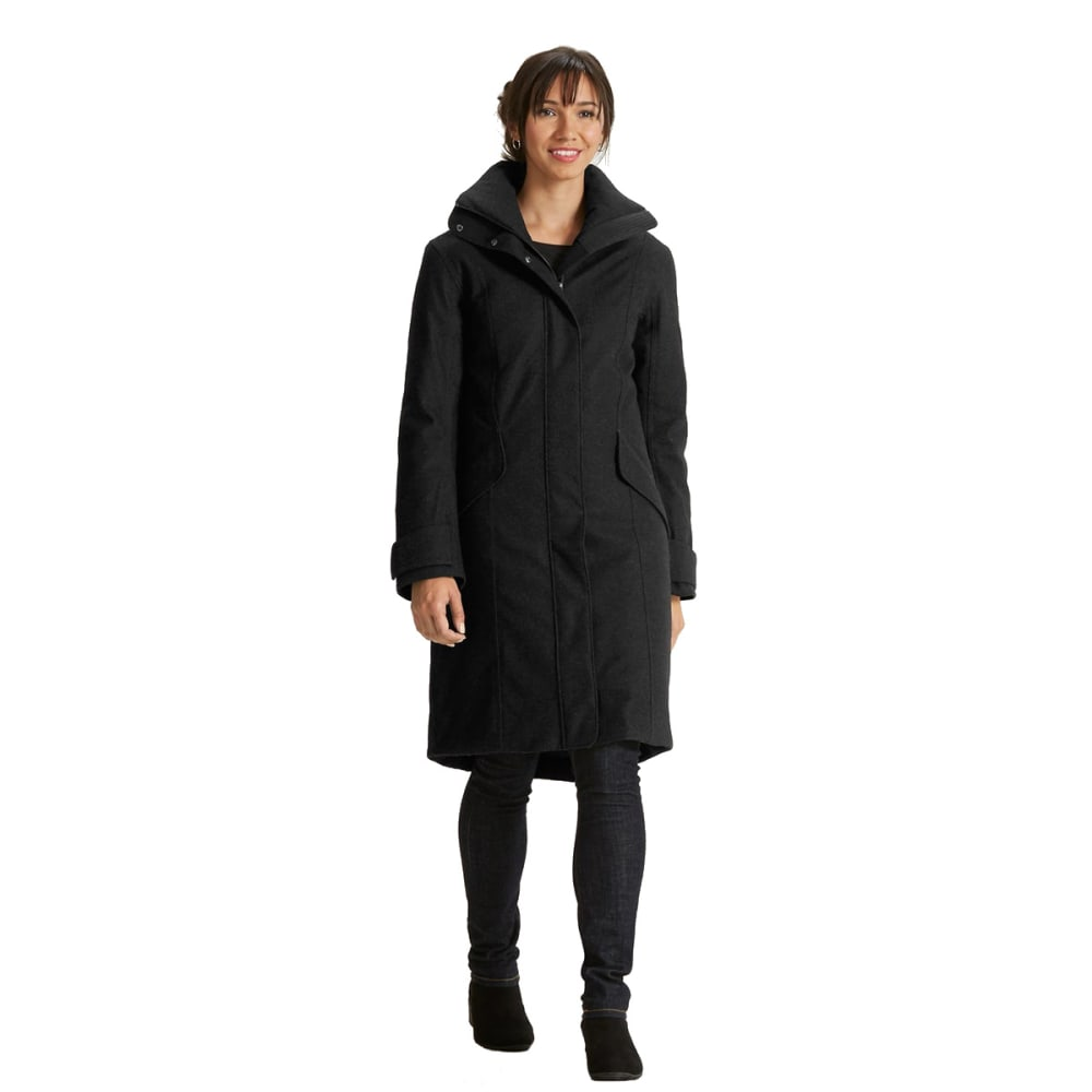 NAU Women's Prato Wool Down Trench - CAVIAR HEATHER
