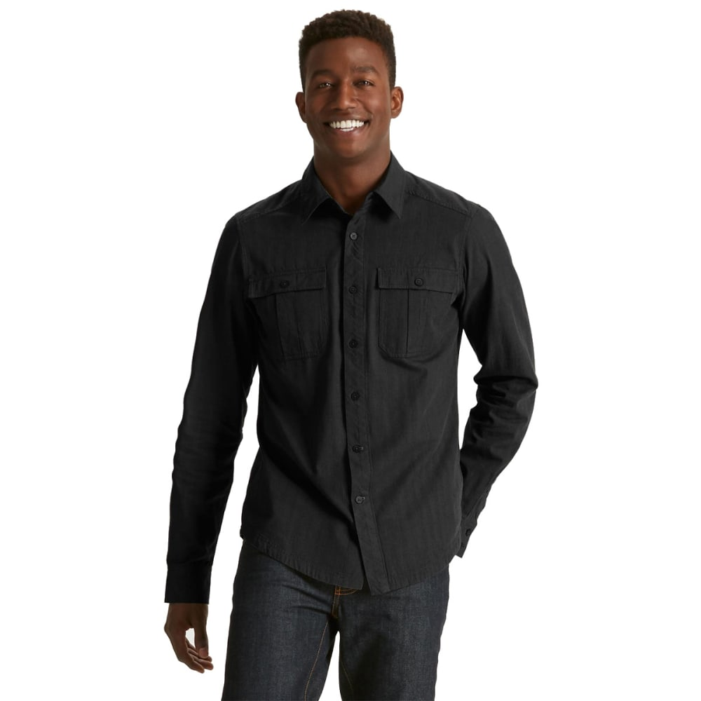 NAU Men's Striate Long-Sleeve Shirt  - BLACK STRIPE
