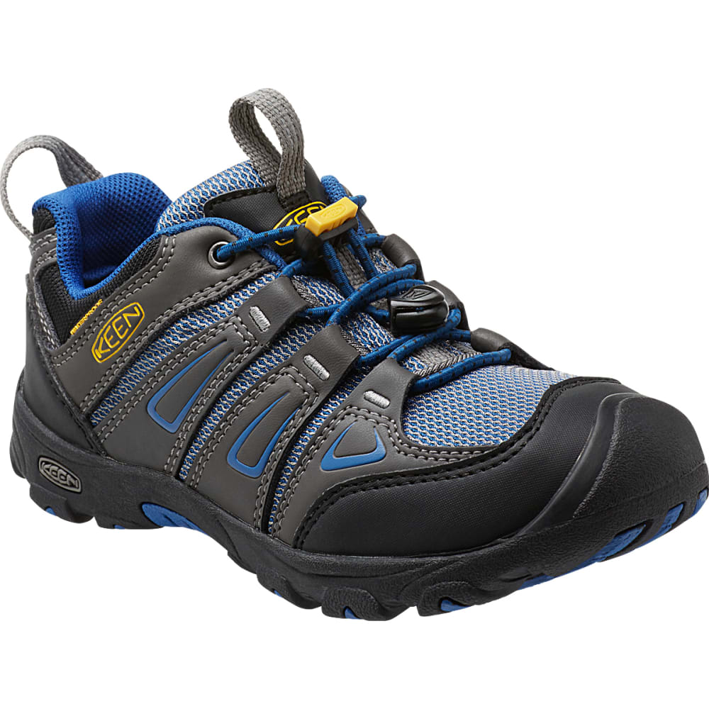 KEEN Kids' Oakridge Low Waterproof Shoes, Magnet/True Blue - MAGNET