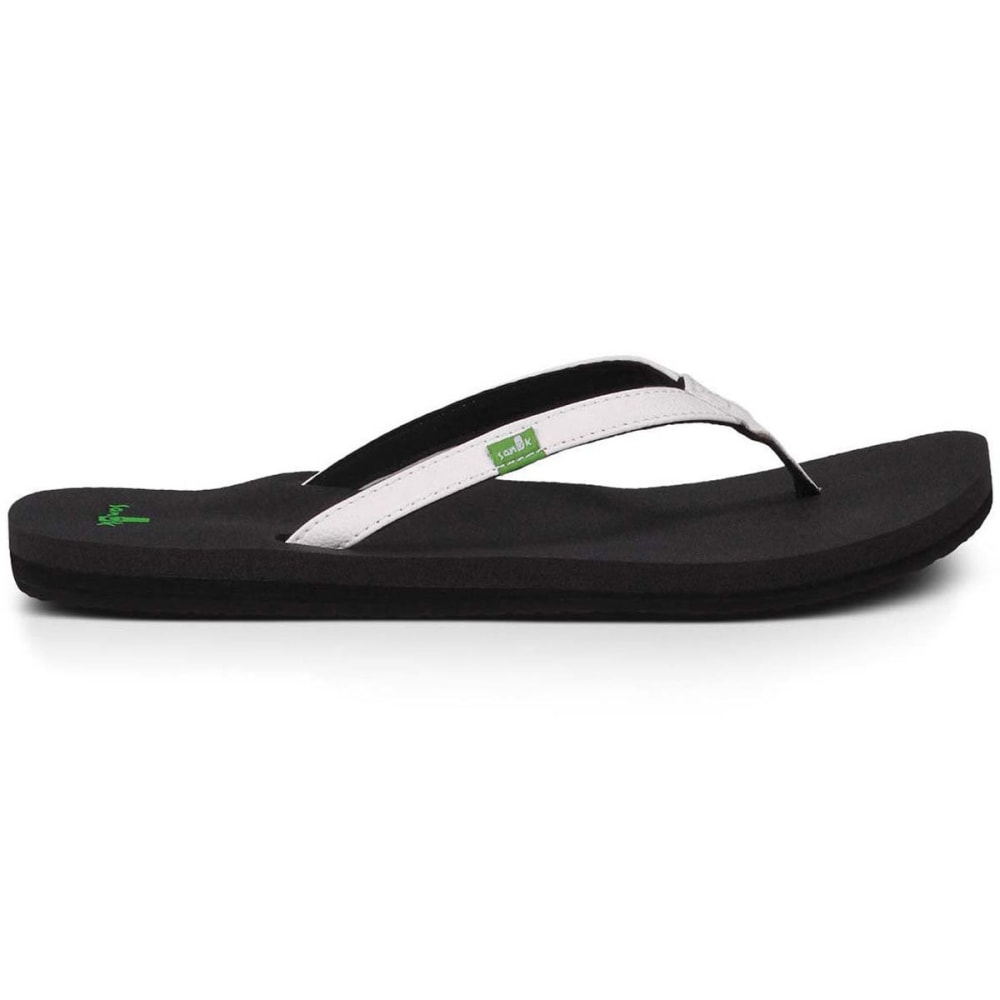 SANUK Women's Yoga Joy Flip Flops - WHITE