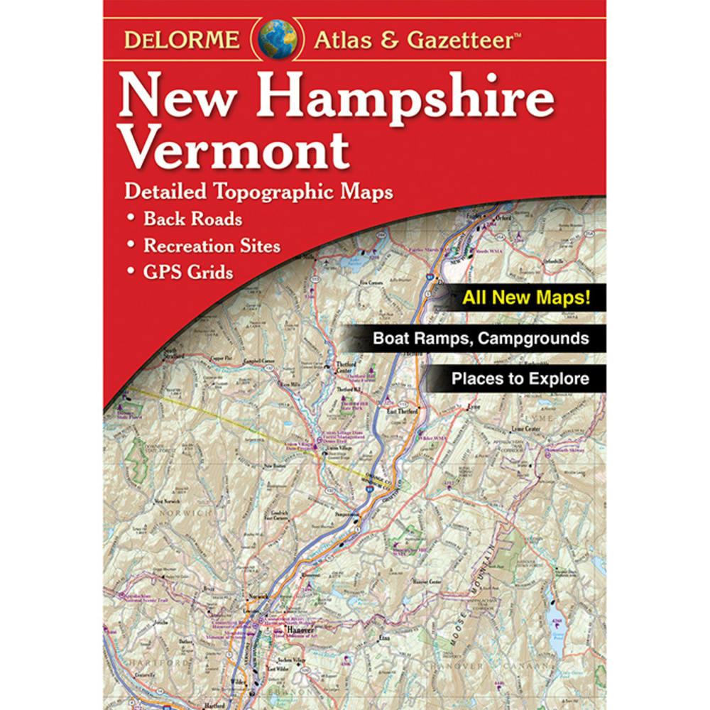 DELORME State Topographic Atlas and Gazetteer, New Hampshire/Vermont - NO COLOR