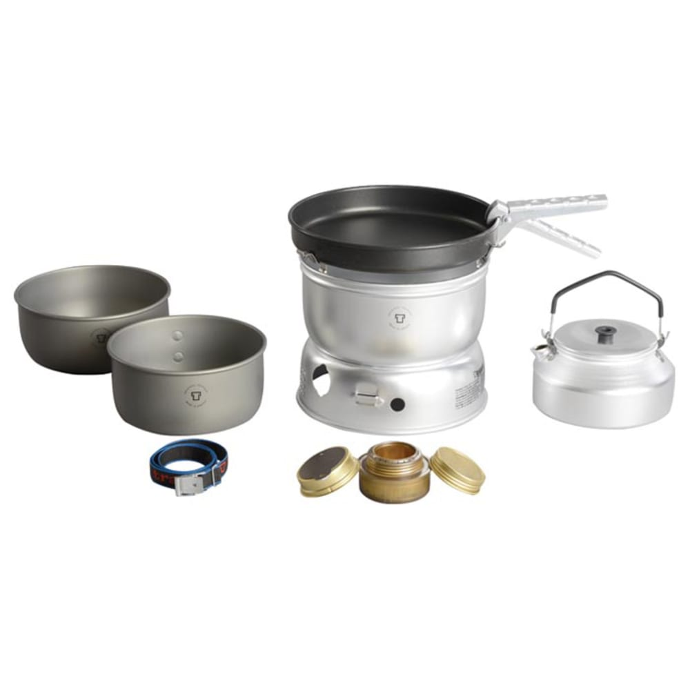 TRANGIA 25-0 Ultralight Hard Anodized Alcohol Stove Kit with Kettle and Windshield - NO COLOR