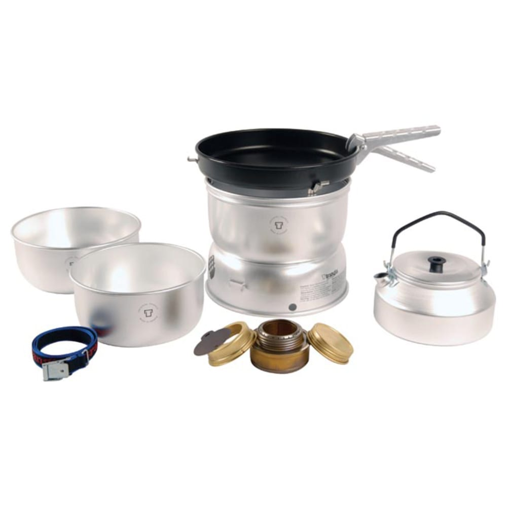 TRANGIA 25-4 Ultralight Non-Stick Alcohol Stove Kit with a Kettle and Windshields - NO COLOR
