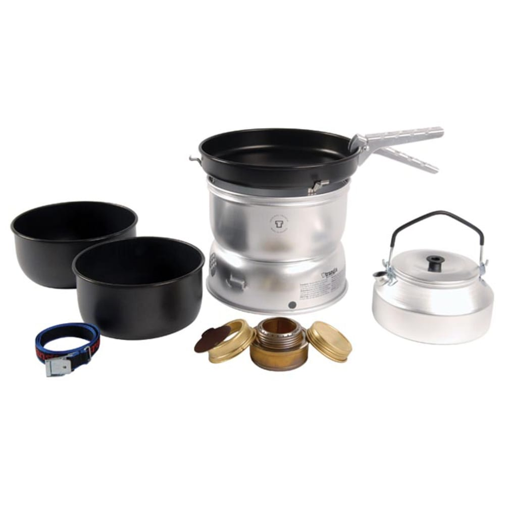 TRANGIA 25-6 Ultralight Non-Stick Alcohol Stove Kit with Kettle and Windshields - NO COLOR