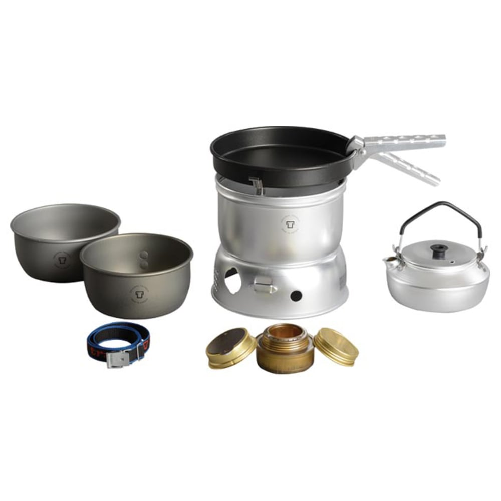 TRANGIA 27-0 Ultralight Hard Anodized Alcohol Stove Kit with Kettle and Windshield - NO COLOR