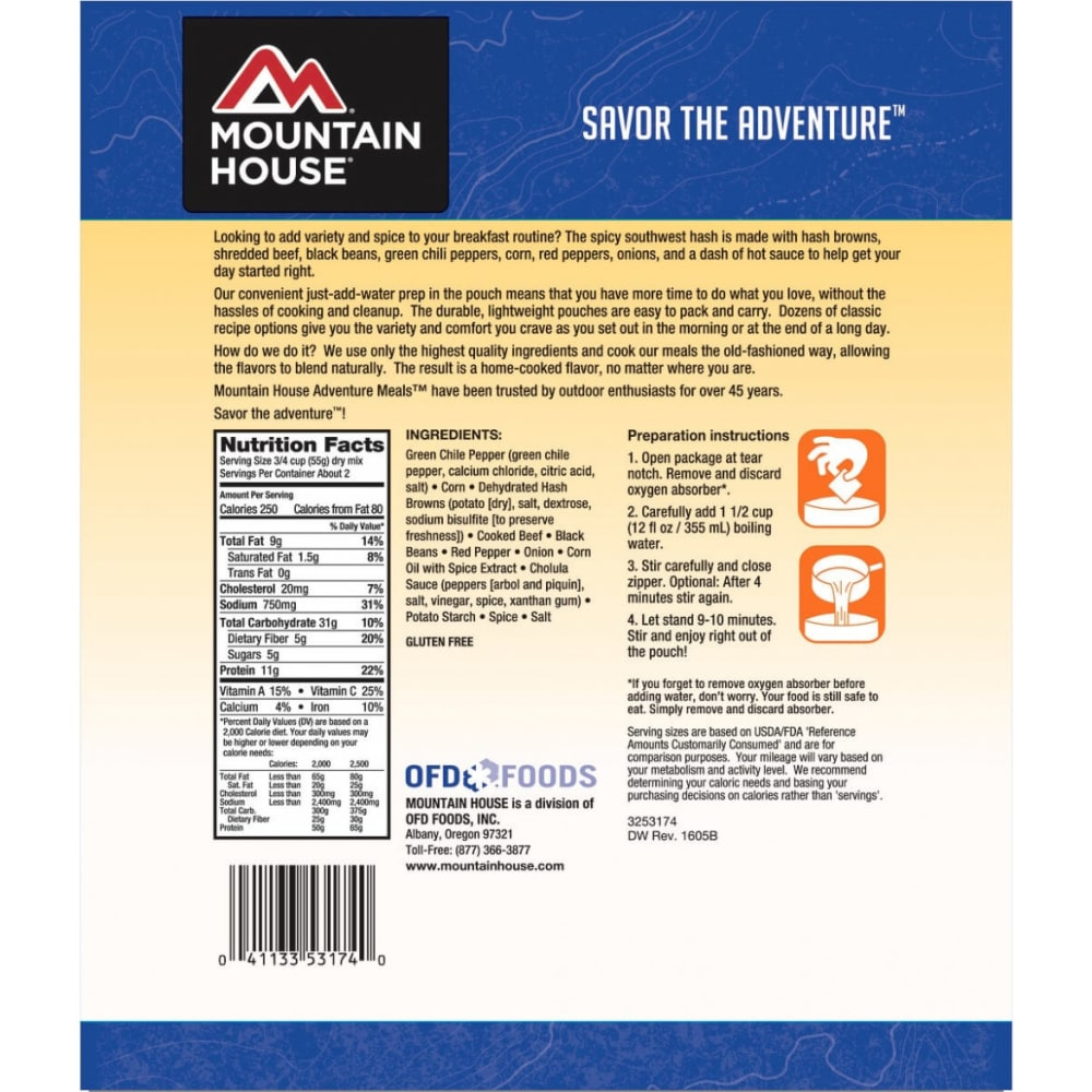 MOUNTAIN HOUSE Spicy Southwest Breakfast Hash - NO COLOR
