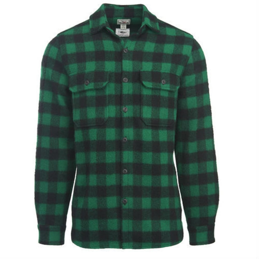 WOOLRICH Men's Eco-Rich   Made in America Buffalo Wool Shirt - GREEN/BLACK