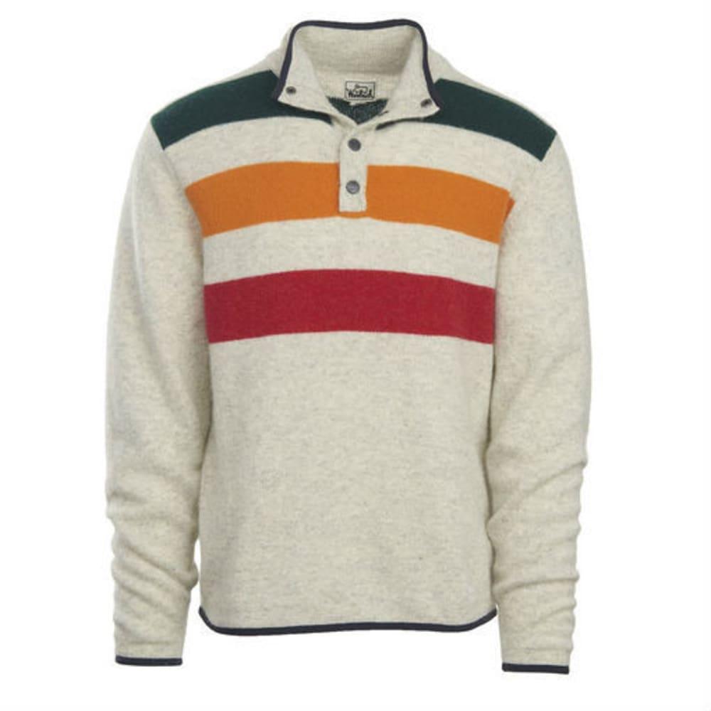 WOOLRICH Men's Half Snap Blanket Stripe Sweater - WOOL CREAM STRIPE