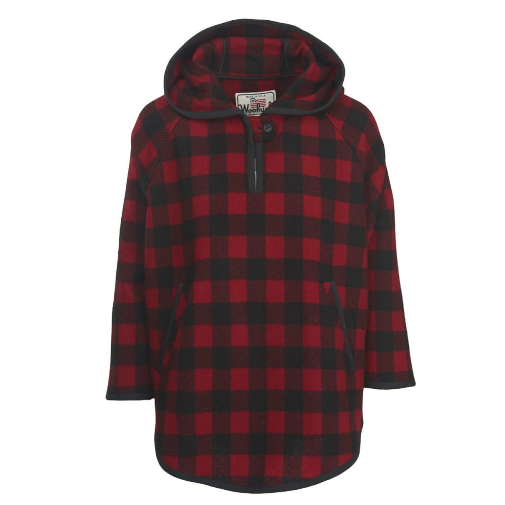 WOOLRICH Women's USA MADE Wool Popover - RED/BLACK