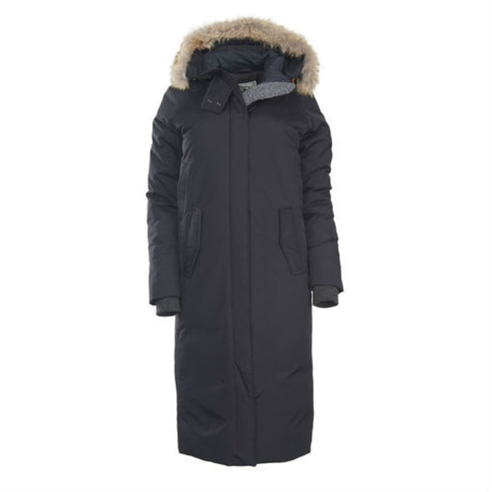 WOOLRICH Women's Long Patrol Down Parka with Coyote Fur Ruff - BLACK