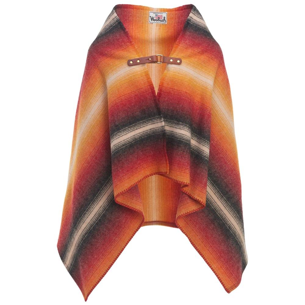 WOOLRICH Fireside II Wool Blanket Poncho - BLACK STRIPE