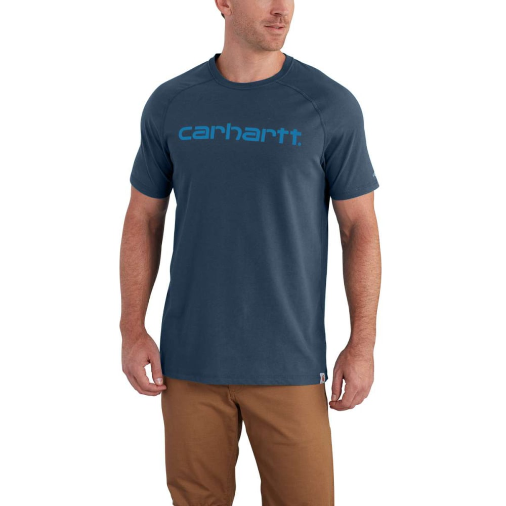 CARHARTT Men's Force Cotton Delmont Graphic Short-Sleeve Tee - LT HURON HTHR 446
