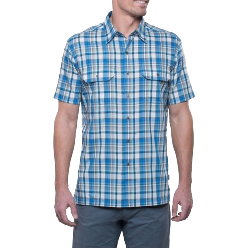 KUHL Men's Short Sleeve Response Plaid Shirt - STBL-STORM BLUE