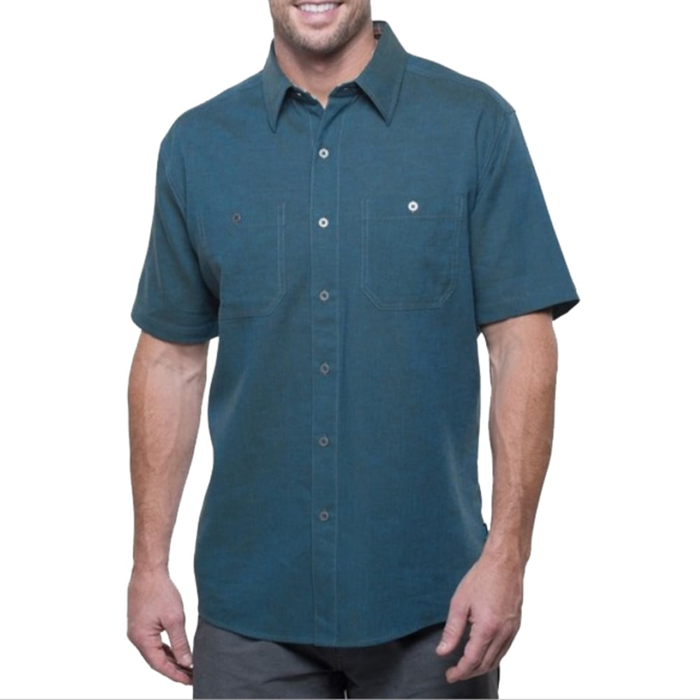 KUHL Men's Skorpio Short Sleeve Woven Shirt - PB-PIRATE BLUE