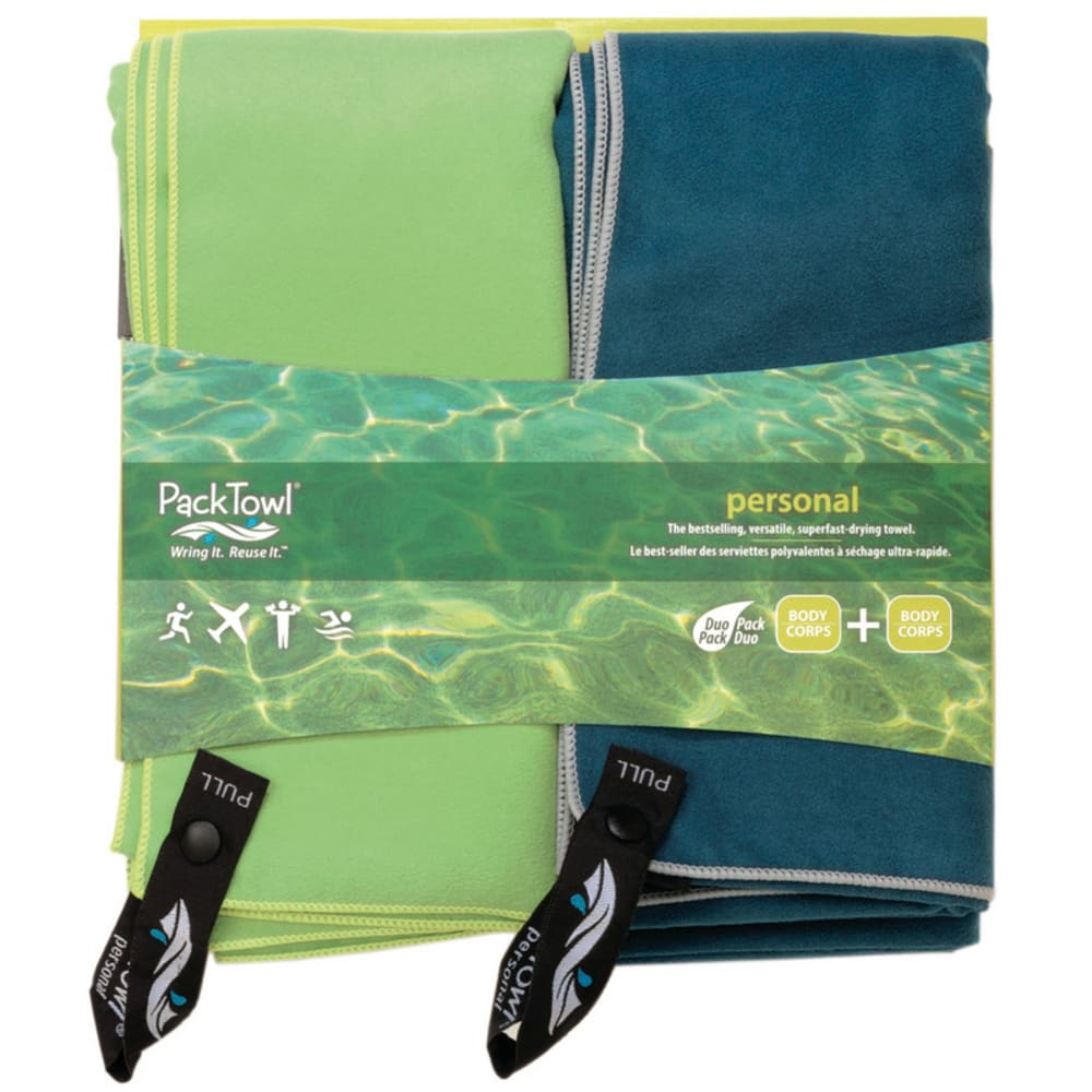 Packtowl Body Size Personal Towel, Set Of 2 - Green 09113