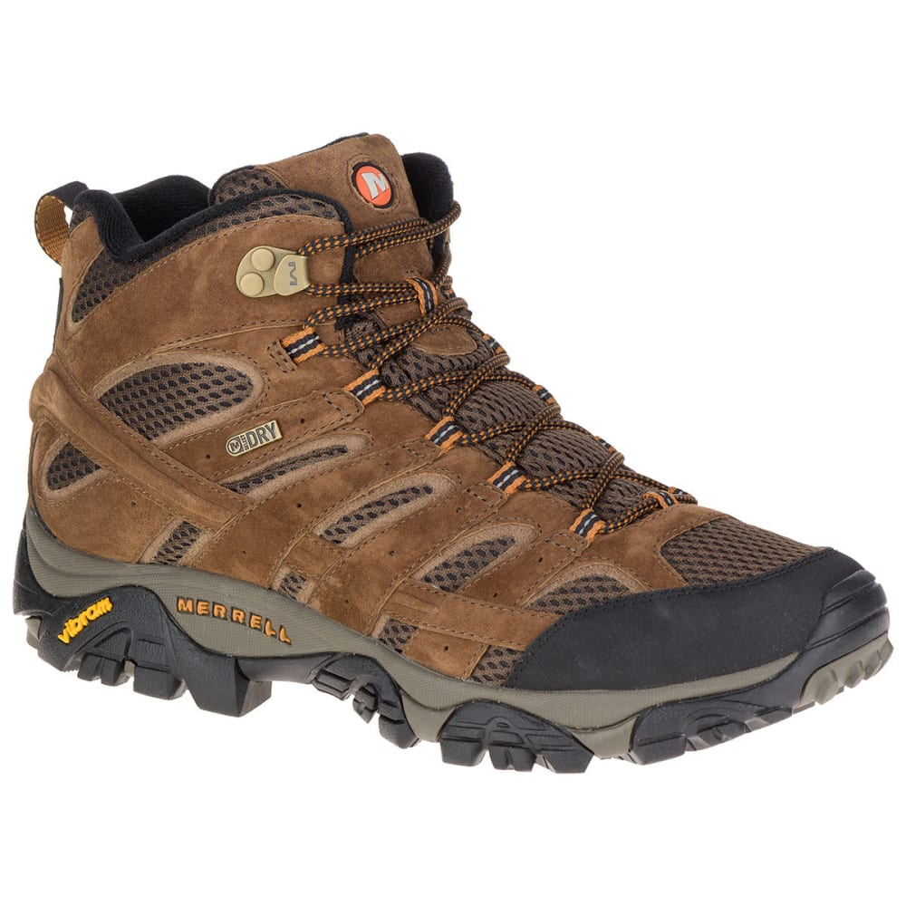MERRELL Men's Moab 2 Mid Waterproof Hiking Boots, Earth, Wide 7.5