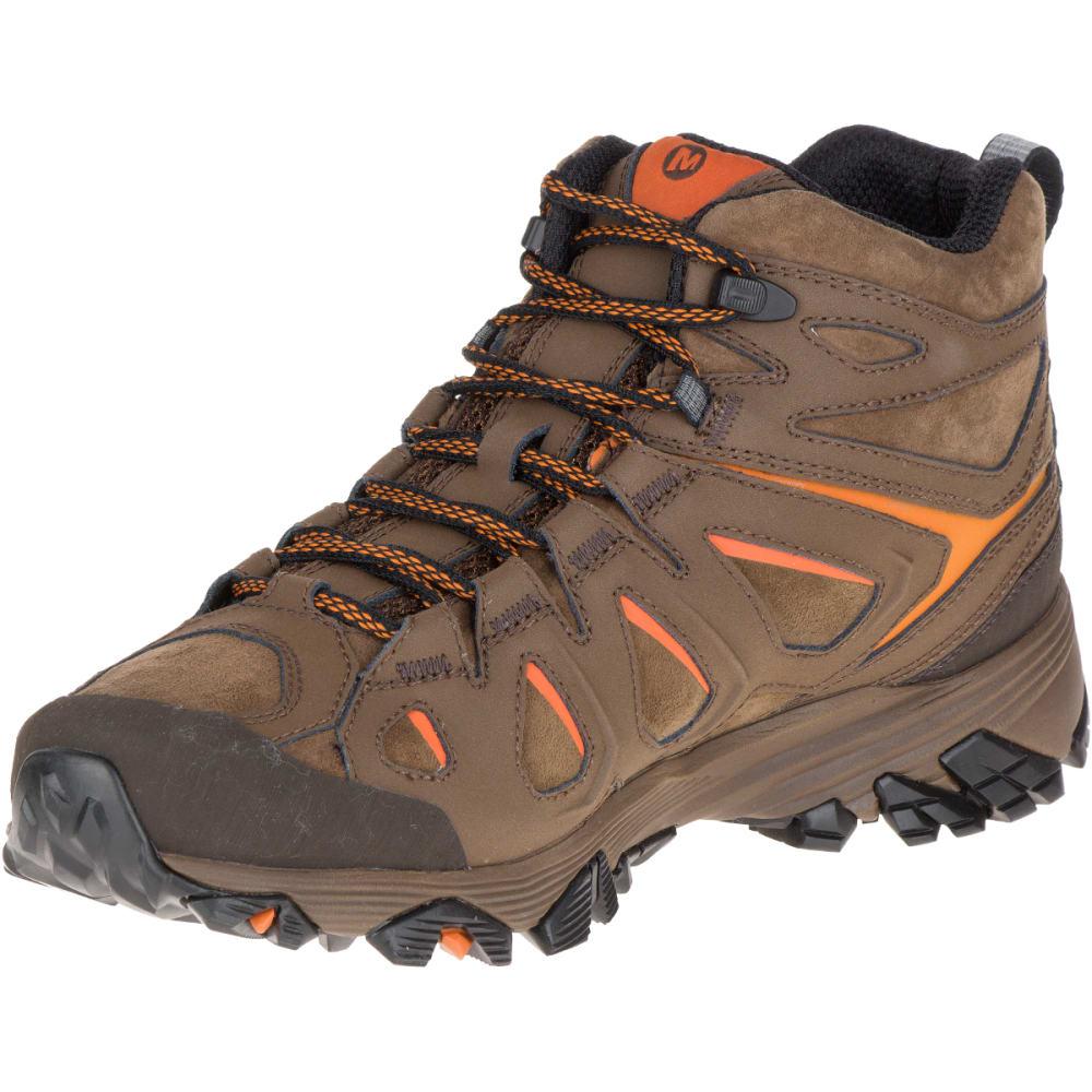 MERRELL Men's Moab FST Leather Mid Hiking Boots, Waterproof, Dark Earth - DARK EARTH