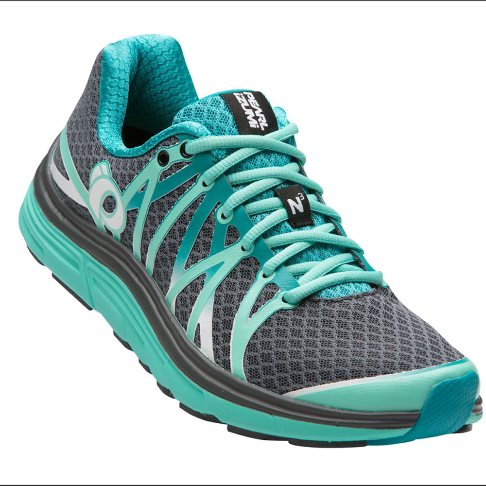 PEARL IZUMI Women's Road N3 Running Shoe, Smoke Greay/Aqua Mint - SHADOW GREY/AQUA MIN