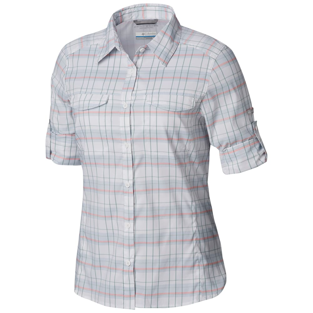 COLUMBIA Women's Silver Ridge Lite Plaid Long-Sleeve Shirt - 032-CITRUS GREY