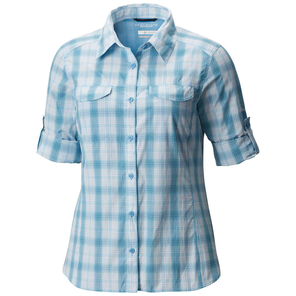 COLUMBIA Women's Silver Ridge Lite Plaid Long-Sleeve Shirt - 989-BLUE SKY PLAID