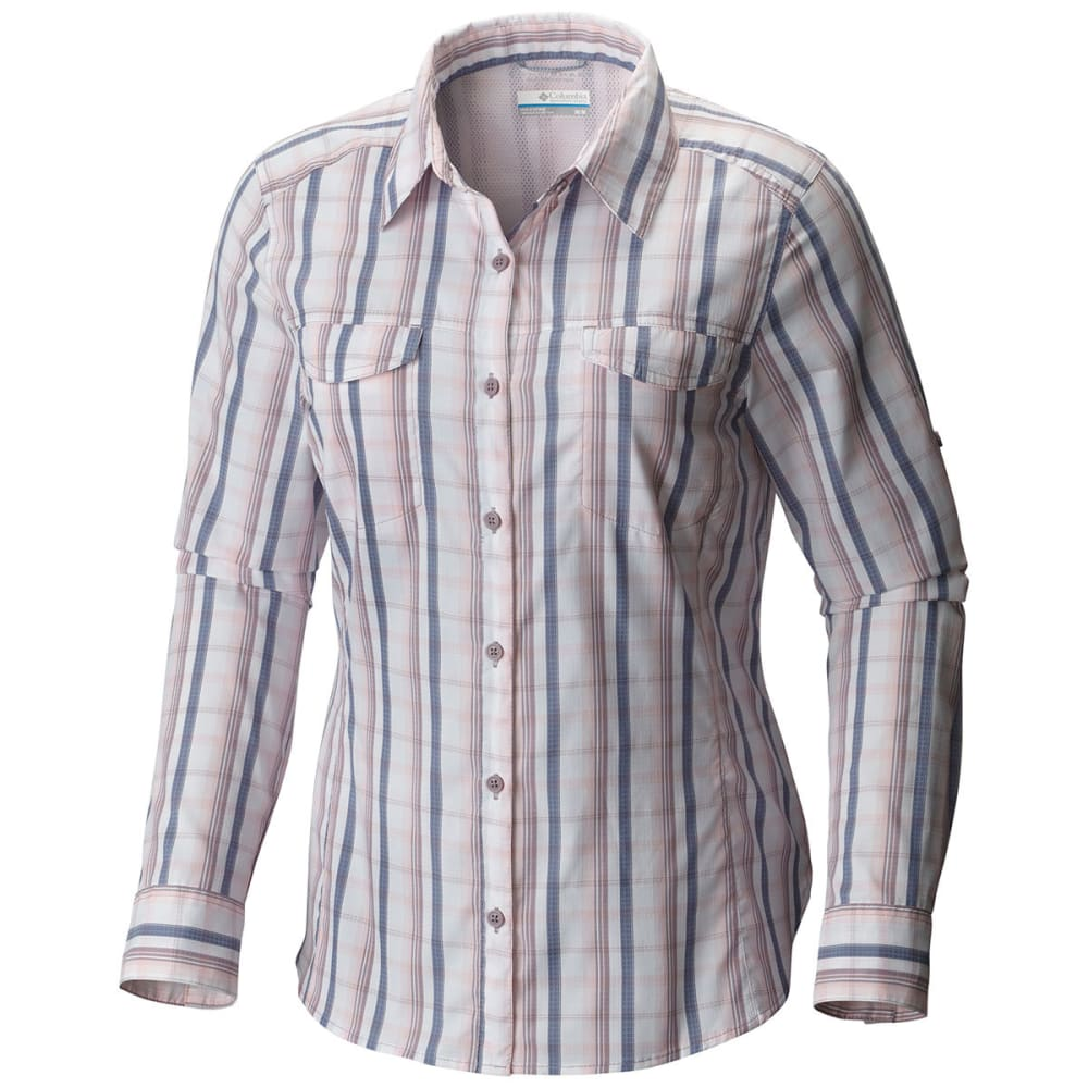COLUMBIA Women's Silver Ridge Lite Plaid Long-Sleeve Shirt - 615-WHITENED PINK
