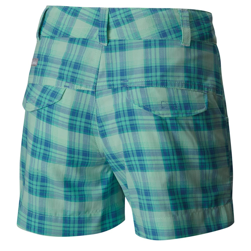 COLUMBIA Girls' Silver Ridge Printed Shorts - 907-SEA ICE PLAID