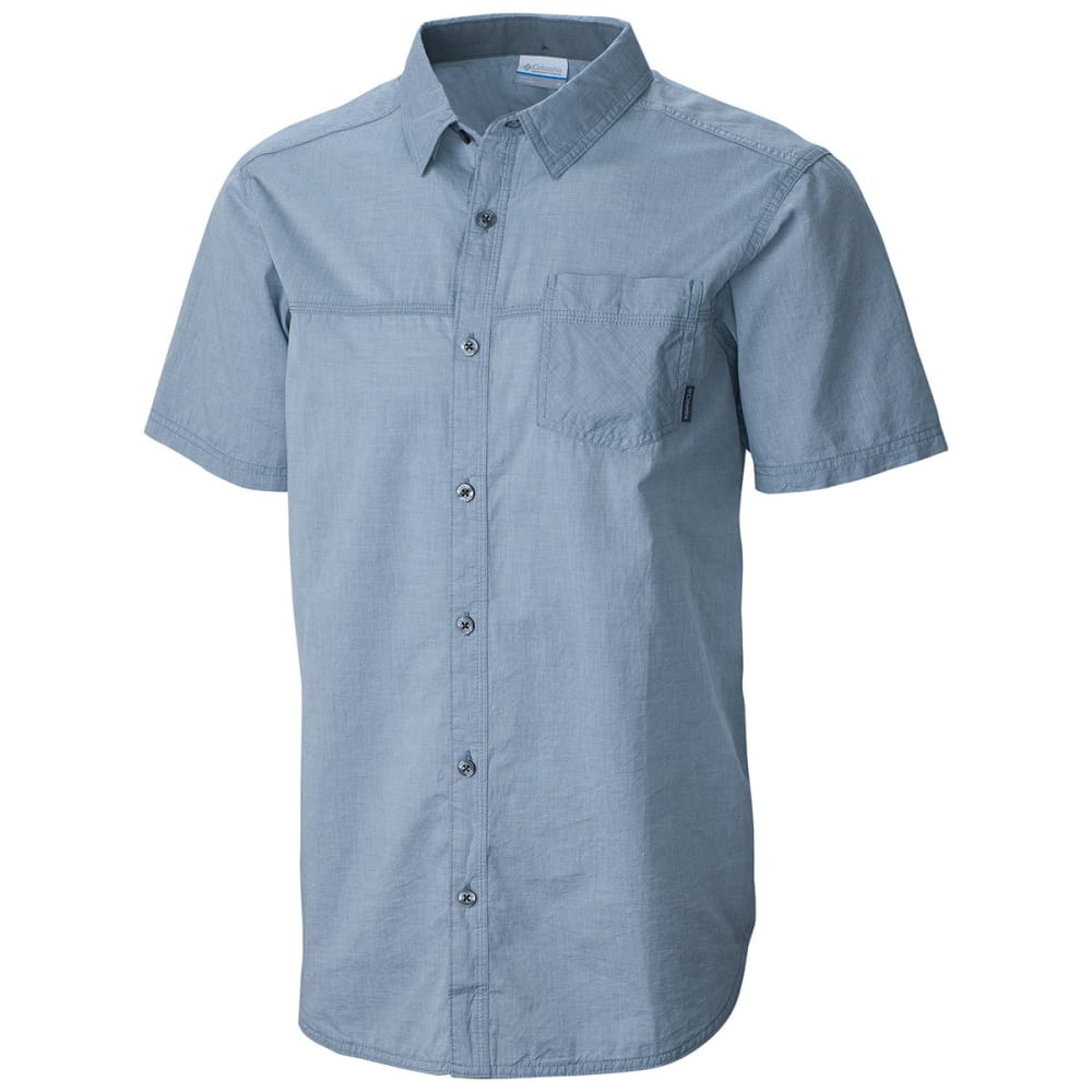 COLUMBIA Men's Campside Crest Chambray Short-Sleeve Shirt - GREY ASH-021