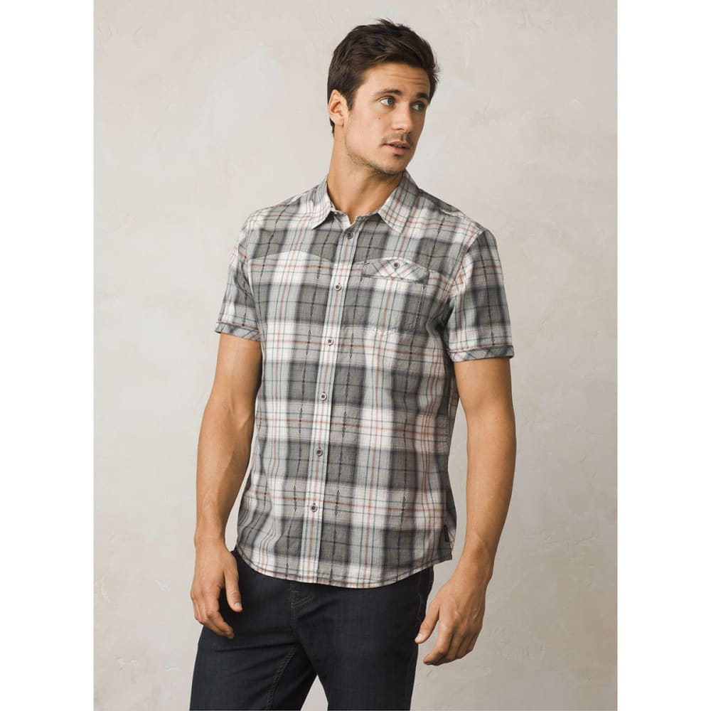 PRANA Men's Patras Slim Fit Short-Sleeve Shirt - CHR-CHARCOAL