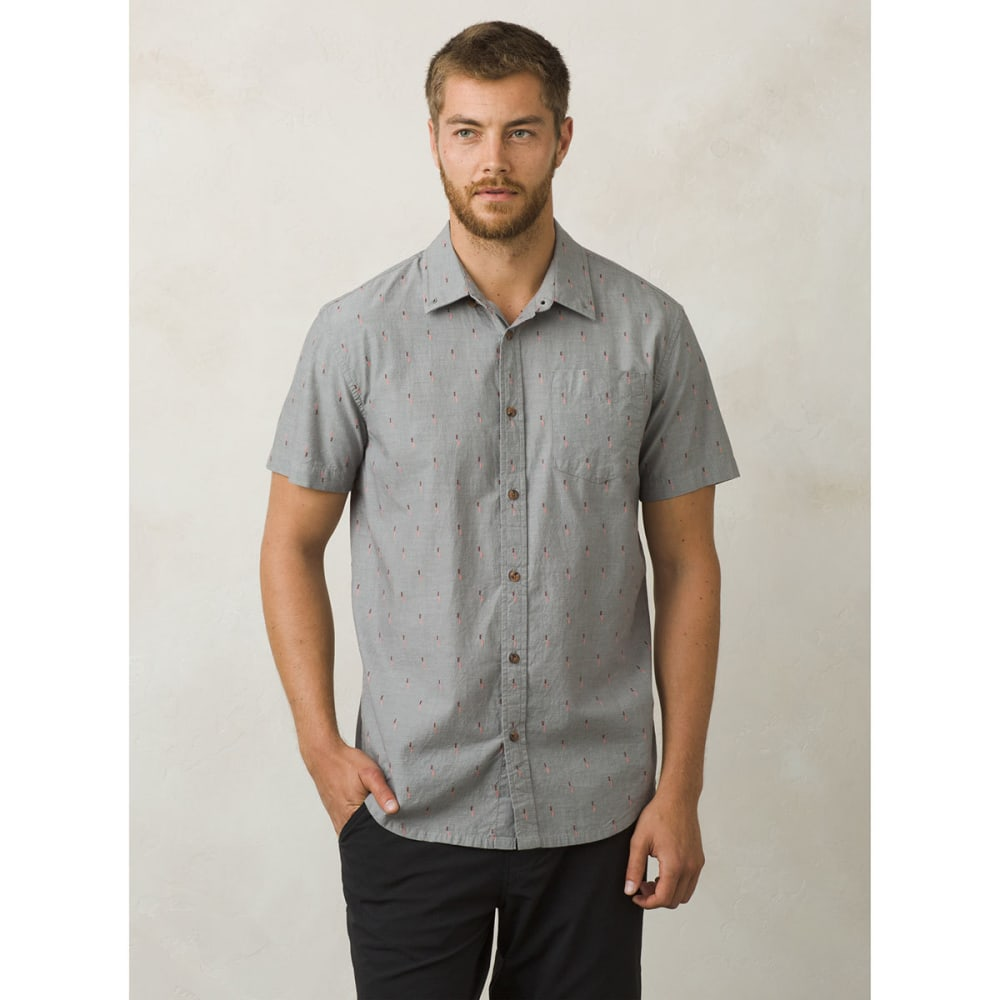 PRANA Men's Broderick Solid Short-Sleeve Shirt - GRA-GRAVEL