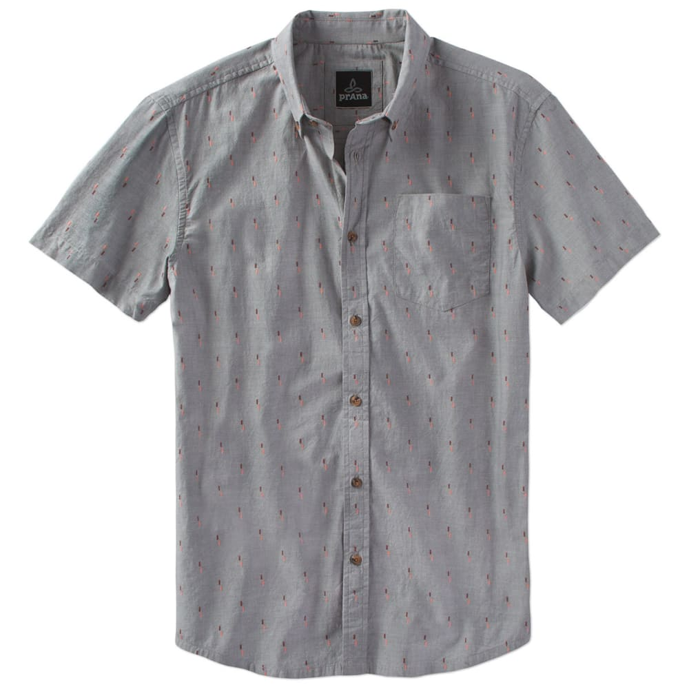 PRANA Men's Broderick Short-Sleeve Shirt - GRA-GRAVEL