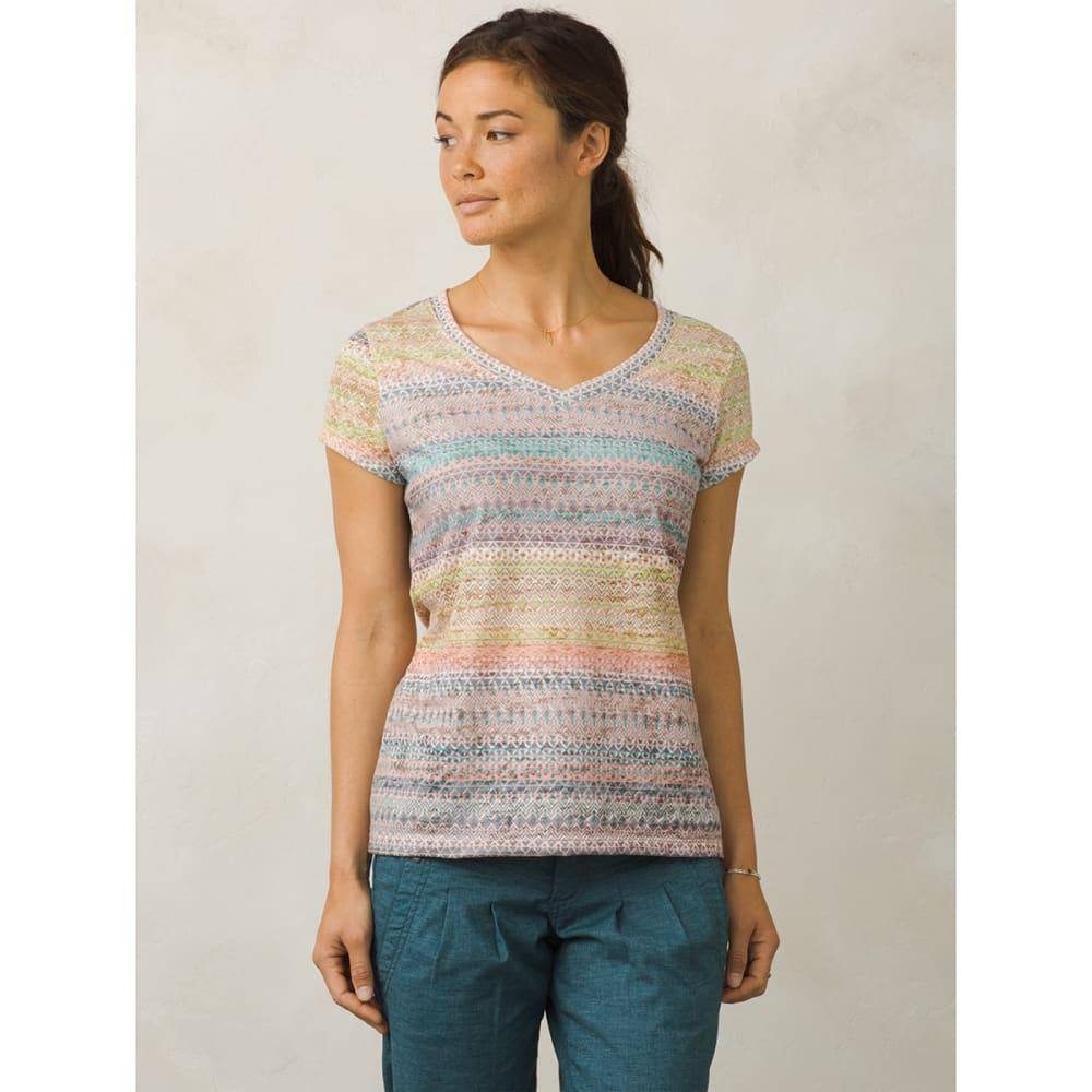 PRANA Women's Portfolio V-Neck Short-Sleeve Top - SCMY-SUNLIT CORAL MA