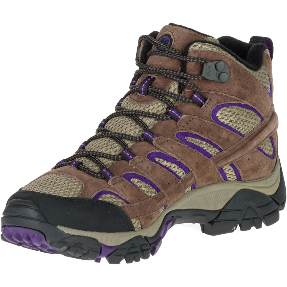 MERRELL Women's Moab 2 Vent Mid Hiking Boots, Bracken/ Purple - BRACKEN/PURPLE