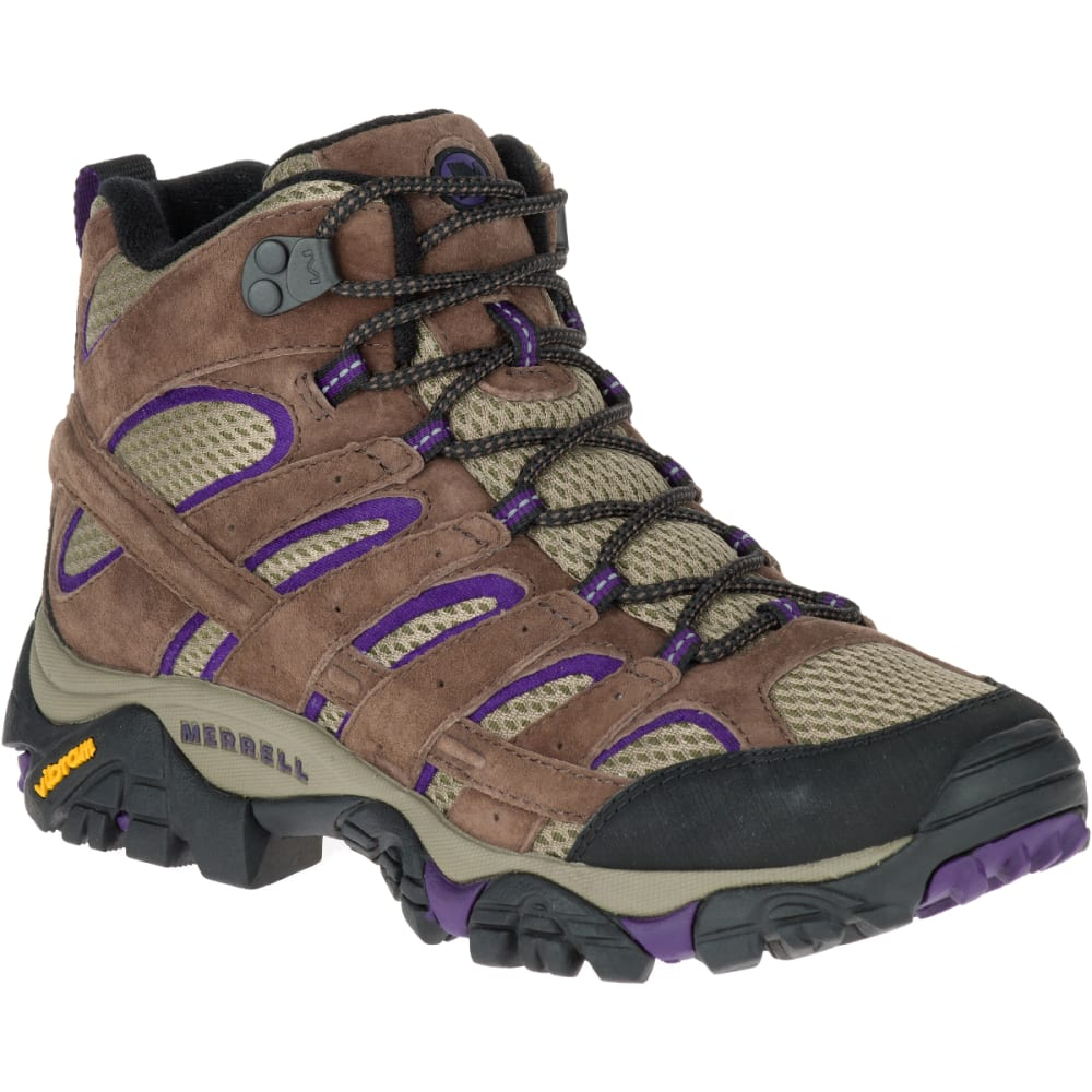 Merrell Women's Moab 2 Vent Mid Hiking Boots, Bracken/ Purple - Brown - Size 8.5