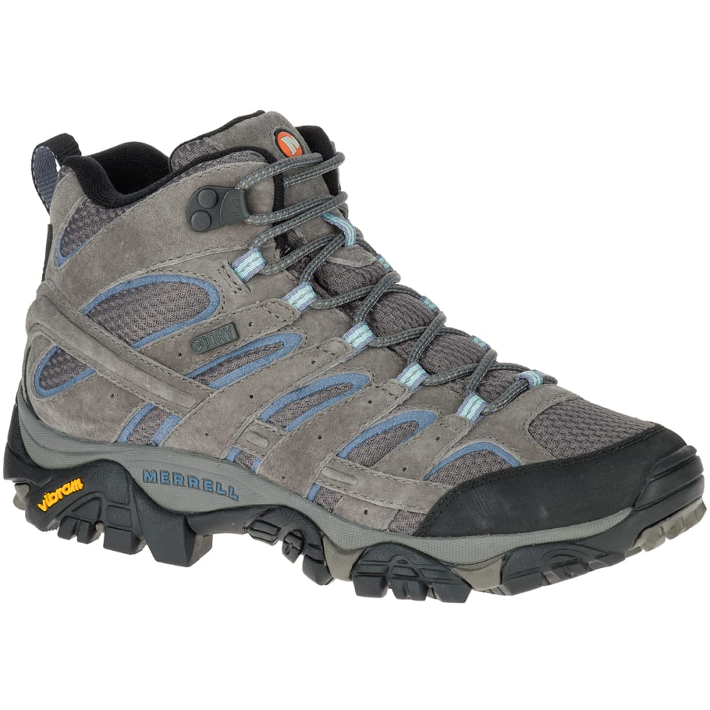 MERRELL Women's Moab 2 Mid Waterproof Hiking Boots, Granite 6