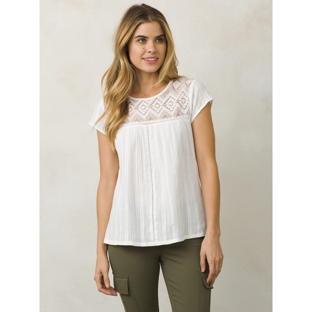 PRANA Women's Kora Short-Sleeve Top - WHT-WHITE